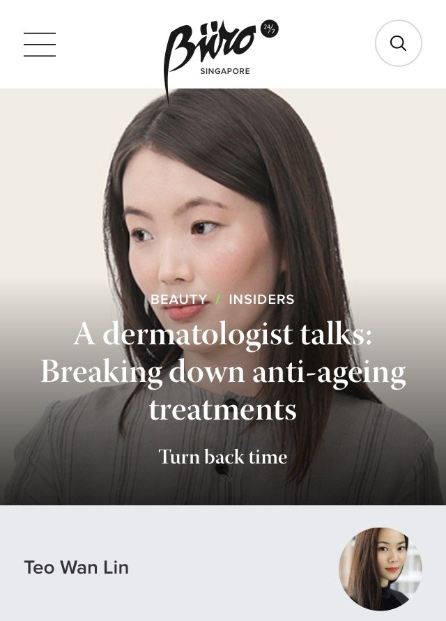 Buro 24/7 - Anti-Ageing Treatments according to a Singapore Dermatologist
