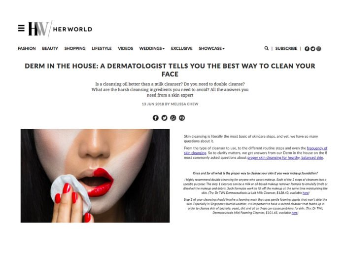 HerWorld - Best Way to Clean your face according to a dermatologist singapore