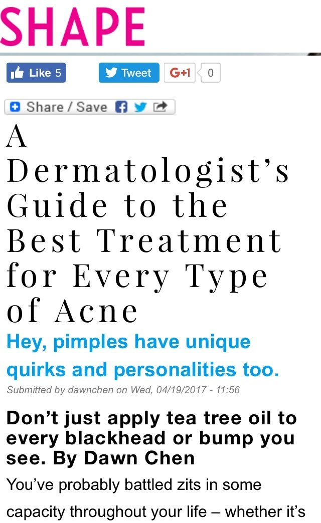 SHAPE - Dermatologist's Guide to Best Treatment for Every Type of Acne