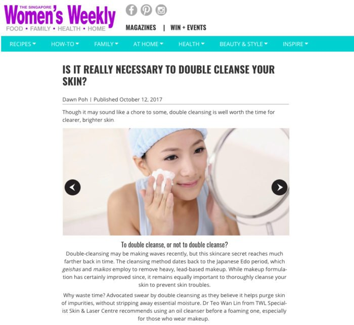 Women's Weekly - Is it necessary to double cleanse your skin according to a dermatologist in singapore