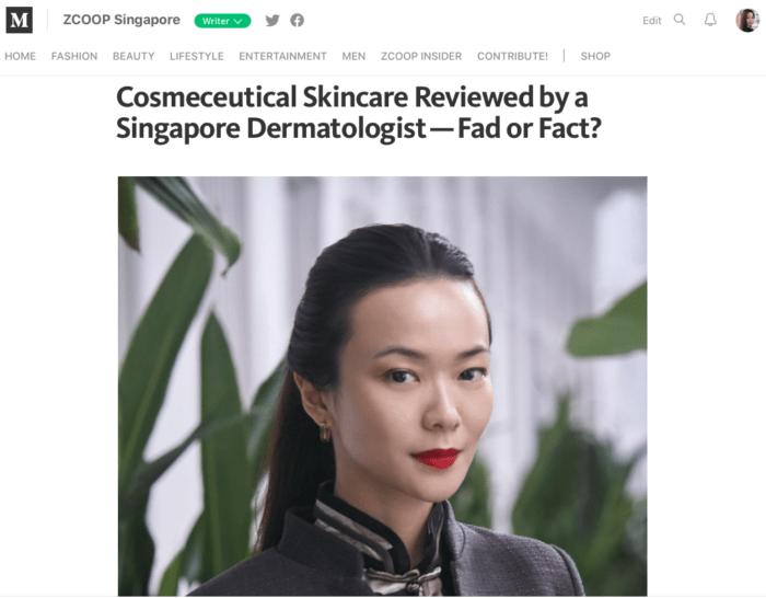 ZCOOP Singapore - Cosmeceutical Skincare Reviewed by a Singapore Dermatologist