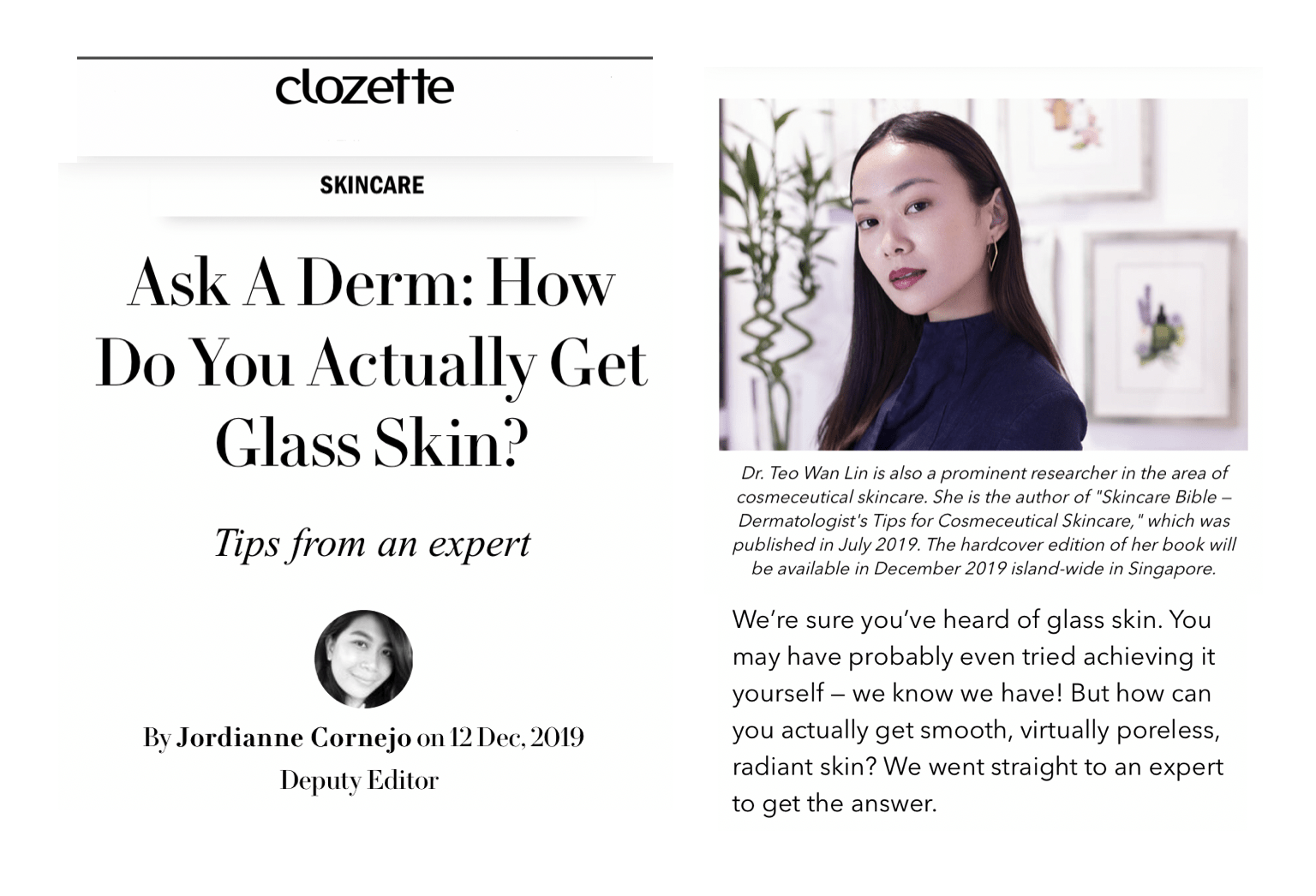 Clozette Singapore Dermatologist, Glass Skin