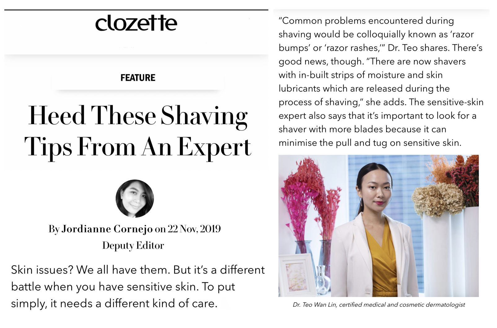 Clozette - Shaving Tips from Singapore Dermatologist