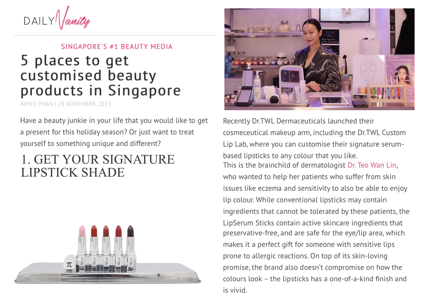 Daily Vanity - Customized Lipstick with Dr.TWL Dermaceuticals Singapore Dermatologist