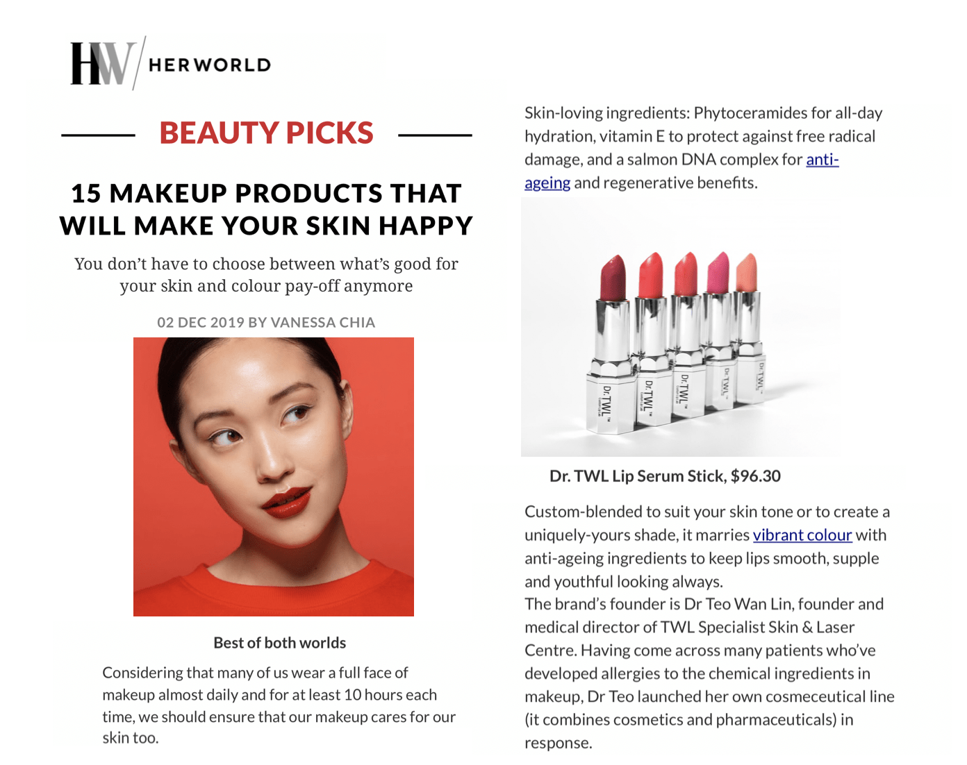 HerWorld - Happy Skin Makeup Products with Singapore Dermatologist