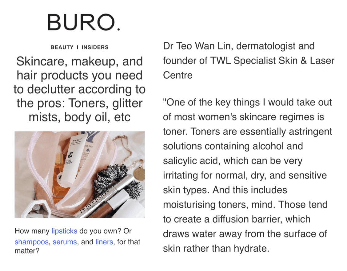 Buro 24/7 - Declutter Skincare Makeup Hair Products according to Singapore Dermatologist